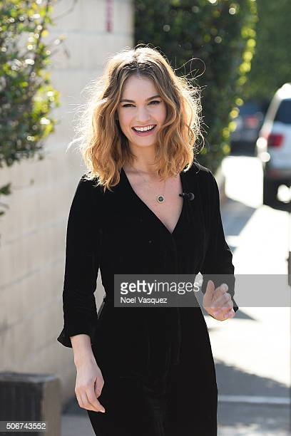 Lily James visits Extra at Universal Studios Hollywood on January 25 2016 in Universal City California