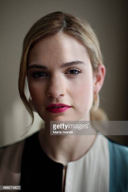 Lily James who plays Cinderella in Disney's new liveaction version of the classic fairy tale poses for a portrait at ShangriLa Hotel