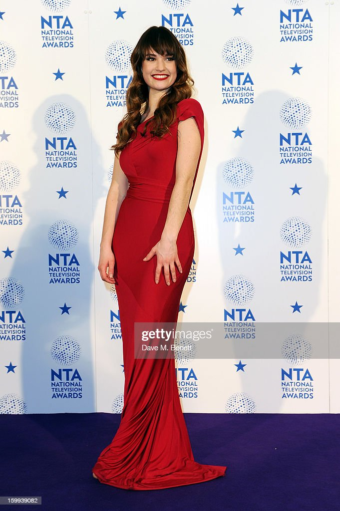 Lily James, winner of Drama award for 'Downton Abbey', poses in the Winners room at the National Television Awards at 02 Arena on January 23, 2013 in London, England.