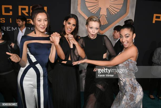 Lily Ji Adria Arjona Ivanna Sakhno and Shyrley Rodriguez attends Universal's 'Pacific Rim Uprising' premiere at TCL Chinese Theatre IMAX on March 21...