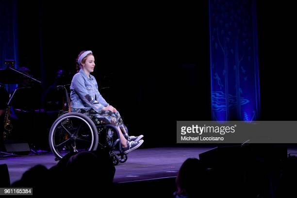 Lily Jordan speaks on stage at the 2018 SeriousFun Children's Network Gala at The Ziegfeld Ballroom on May 21 2018 in New York City
