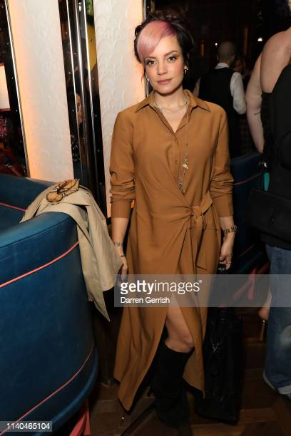 Lily Llaneattends the Pat McGrath 'A Technicolour Odyssey' Campaign launch party at Brasserie of Light Selfridges on April 04 2019 in London England