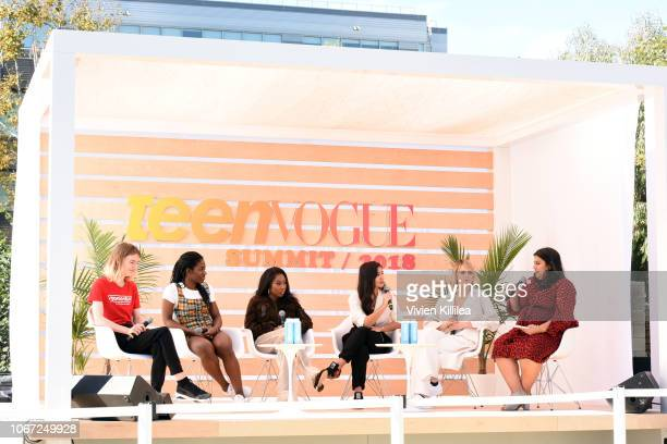 Lily Madigan Maame Biney Tia Adeola Deja Foxx Cara Delevingne and Samhita Mukhopadhyay Speaks onstage during the Keynote CARA DELEVINGNE TEEN VOGUE'S...