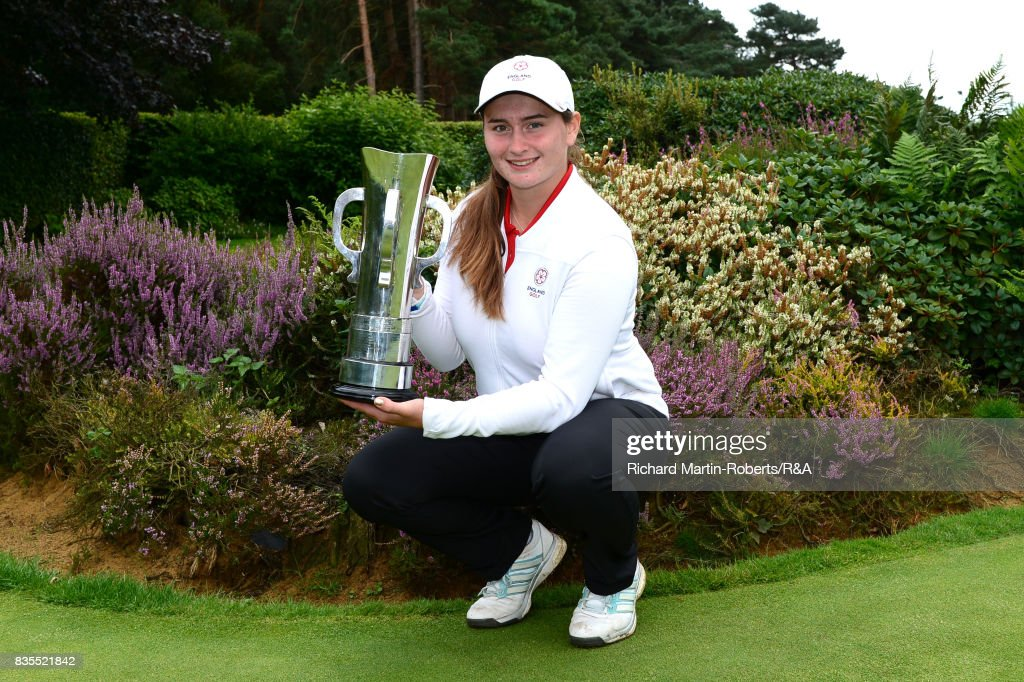 Lily May Humphreys of England poses with the trophy following her victory during the final of the Girls' British Open Amateur Championship at Enville Golf Club on August 19, 2017 in Stourbridge, England.