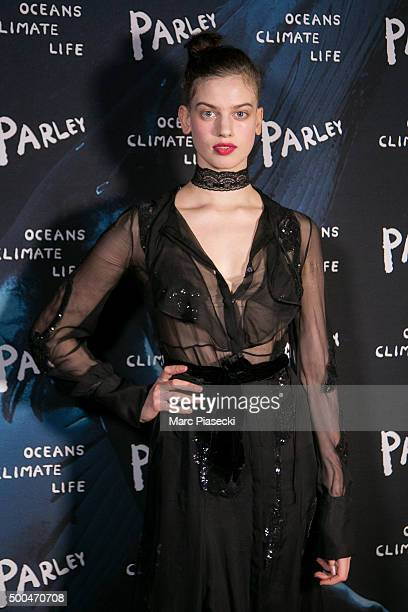 Lily McMenamy attends the 'Parley Talks' photocall at Les Bains Douches on December 8 2015 in Paris France