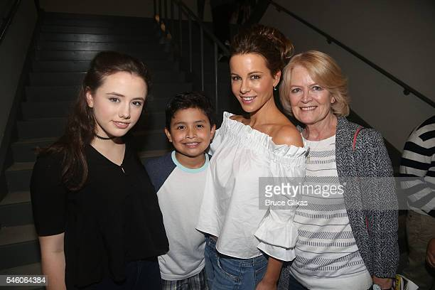 Lily Mo Sheen Eduardo Hernandez Kate Beckinsdale and mother Judy Loe pose backstage at the hit Emilio Gloria Estefan musical On Your Feet on Broadway...