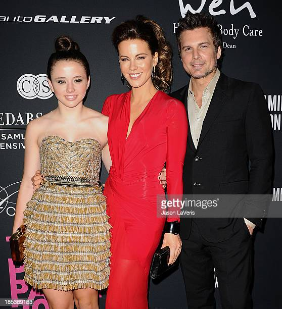 Lily Mo Sheen Kate Beckinsale and Len Wiseman attend the 2013 Pink Party at Hangar 8 on October 19 2013 in Santa Monica California