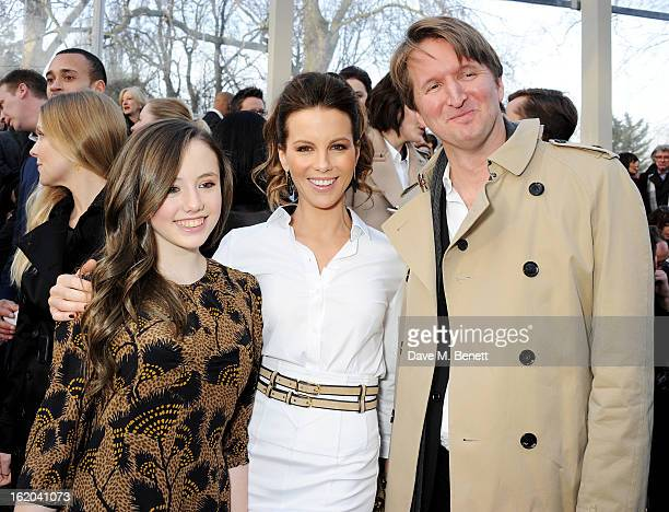 Lily Mo Sheen Kate Beckinsale and Tom Hooper attend the Burberry Prorsum Autumn Winter 2013 Womenswear Show at Kensington Gardens on February 18 2013...