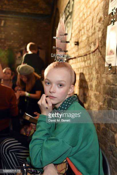 Lily N backstage at the Ashley Williams show during London Fashion Week September 2018 at House of Vans on September 14 2018 in London England