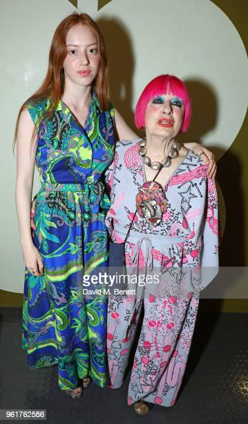 Lily Newmark and Zandra Rhodes attend the launch of the Orla Kiely retrospective that celebrates her remarkable 20year career at The Fashion and...