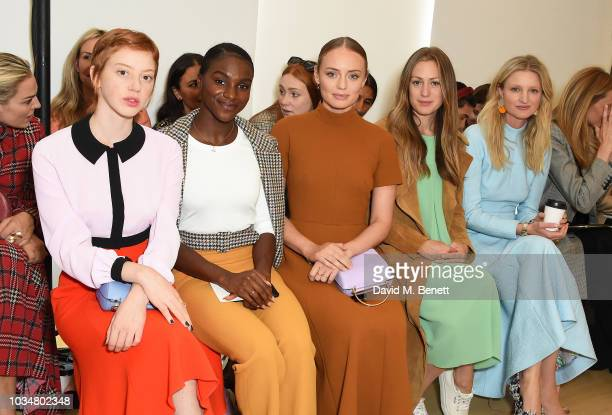 Lily Newmark Dina AsherSmith Laura Haddock Eddie Redmayne and Candice Lake attend the Emilia Wickstead front row during London Fashion Week September...