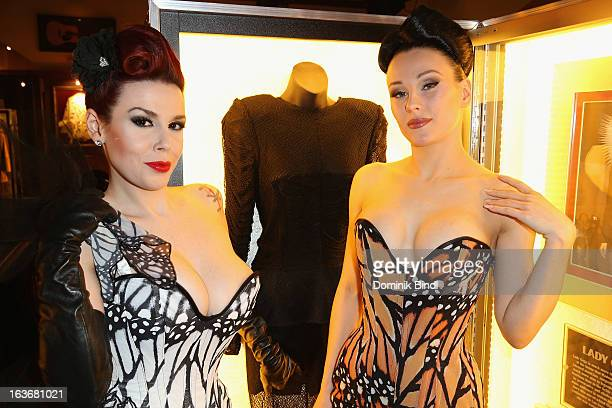 Lily of The Valley and Eden members of the music group The Sinderellas attend the opening of the exhibition Hard Rock Couture Music Inspired Fashion...