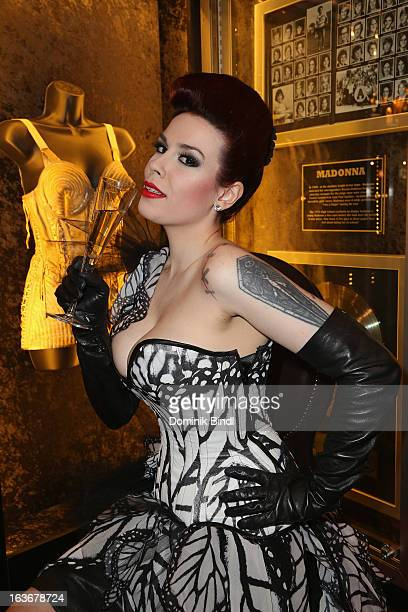 Lily of The Valley member of the music group The Sinderellas attends the opening of the exhibition Hard Rock Couture Music Inspired Fashion at the...