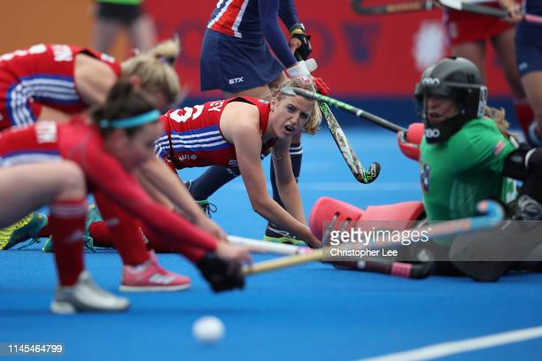 Lily Owsley of Great Britain and her team mates miss a close chance to score during the Women's FIH Field Hockey Pro League match between Great...