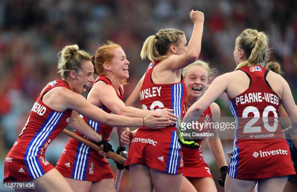 Lily Owsley of Great Britain celebrates her goal with her teammates during the Women's FIH Field Hockey Pro League match between Great Britain and...