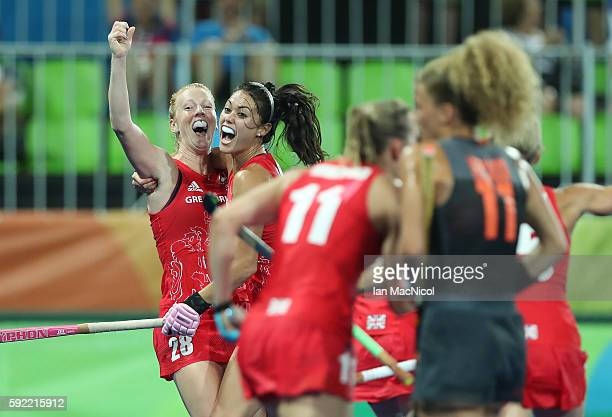 Lily Owsley of Great Britain celebrates scoring during the Women's Hockey final between Great Britain and the Netherlands on day 14 at Olympic Hockey...
