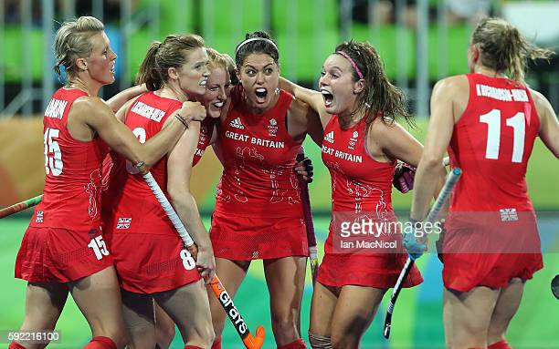 Lily Owsley of Great Britain celebrates scoring her teams third goal during the Women's Hockey final between Great Britain and the Netherlands on day...