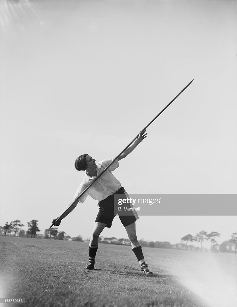 Lily Parr, from St Helen's, practises the javelin as part of her training with Preston Ladies football team, 15th September 1938. She plays outside left and has socred 135 goals this season.