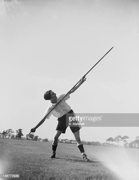 Lily Parr from St Helen's practises the javelin as part of her training with Preston Ladies football team 15th September 1938 She plays outside left...
