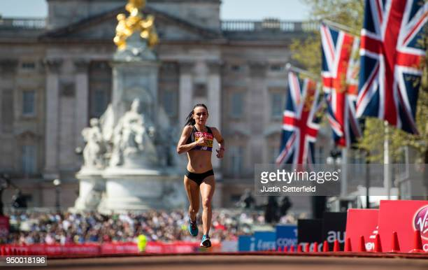 Lily Partridge of Great Britain finishes in eighth place during the Virgin Money London Marathon at United Kingdom on April 22 2018 in London England