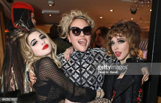 Lily Platt Jaime Winstone and Ellie Rae Winstone attend the Pam Hogg aftershow party during the London Fashion Week February 2017 collections at...