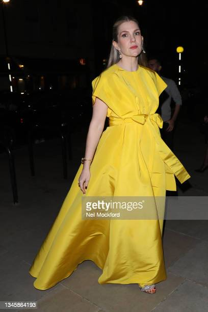 Lily Rabe arriving at a restaurant ahead of the BFI 'The Tender Bar' premiere on October 10, 2021 in London, England.