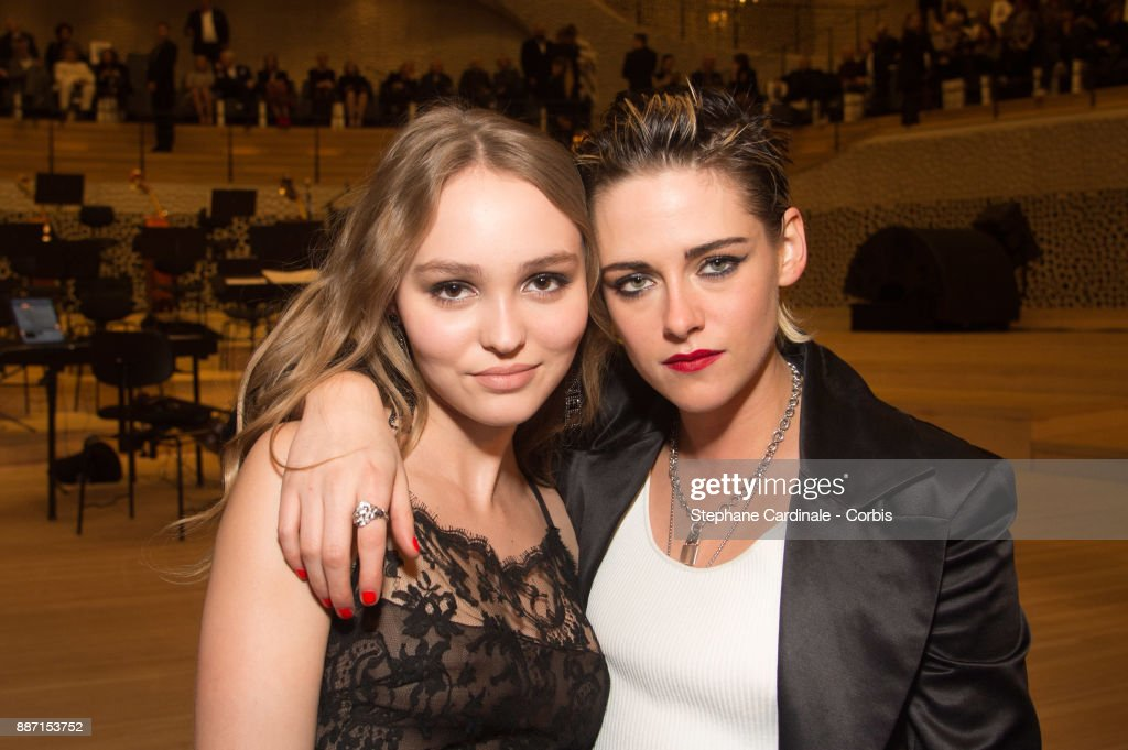 Lily Rose Depp and Kristen Stewart attend the Chanel - Collection Metiers d'Art Paris Hamburg 2017/18 on December 6, 2017 in Hamburg, Germany.