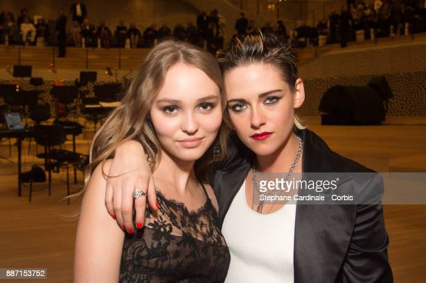Lily Rose Depp and Kristen Stewart attend the Chanel Collection Metiers d'Art Paris Hamburg 2017/18 on December 6 2017 in Hamburg Germany