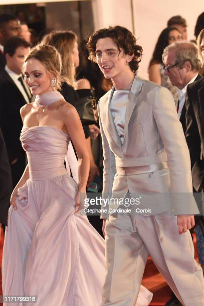 Lily Rose Depp and Timothee Chalamet attend The King red carpet during the 76th Venice Film Festival at Sala Grande on September 02 2019 in Venice...