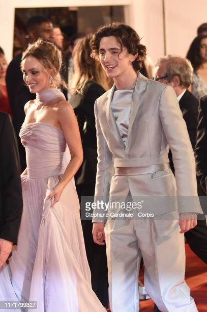 """Lily Rose Depp and Timothee Chalamet attend """"The King"""" red carpet during the 76th Venice Film Festival at Sala Grande on September 02, 2019 in..."""