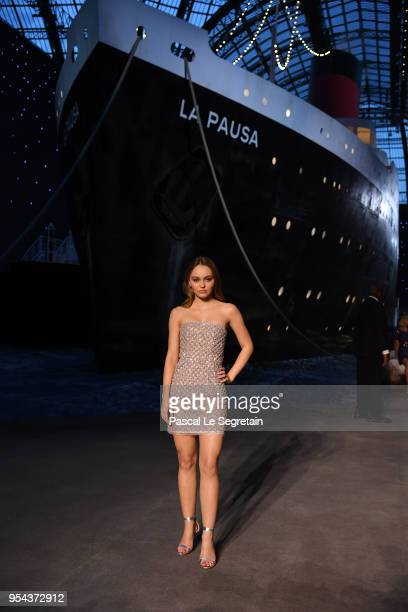Lily Rose Depp attends the Chanel Cruise 2018/2019 Collection at Le Grand Palais on May 3 2018 in Paris France