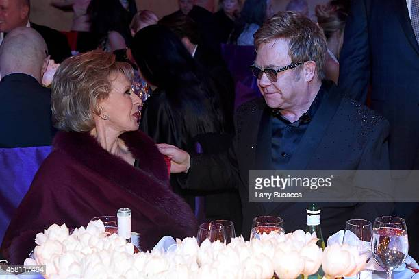 Lily Safra and Founder Sir Elton John attend the Elton John AIDS Foundation's 13th Annual An Enduring Vision Benefit at Cipriani Wall Street on...