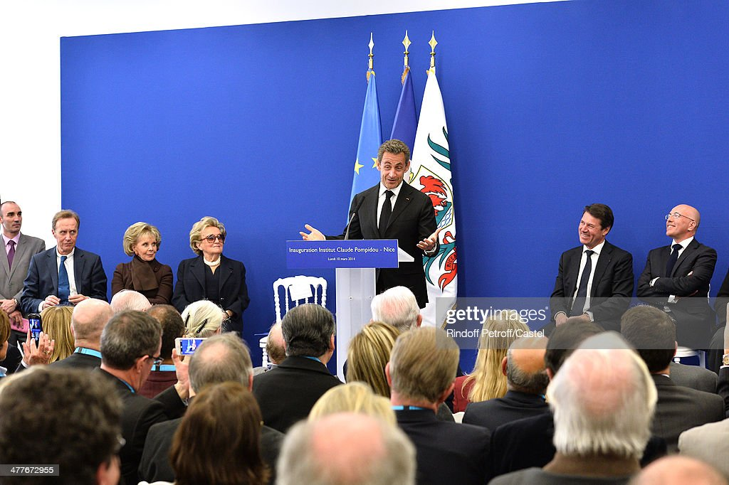 Lily Safra, Bernadette Chirac, Nicolas Sarkozy, Mayor of Nice Christian Estrosi and President of the General Council of the Alpes-Maritimes Eric Ciotti attend the inauguration of the Claude Pompidou Institute dedicated to the fight against Alzheimer's disease. In Nice, on March 10, 2014.