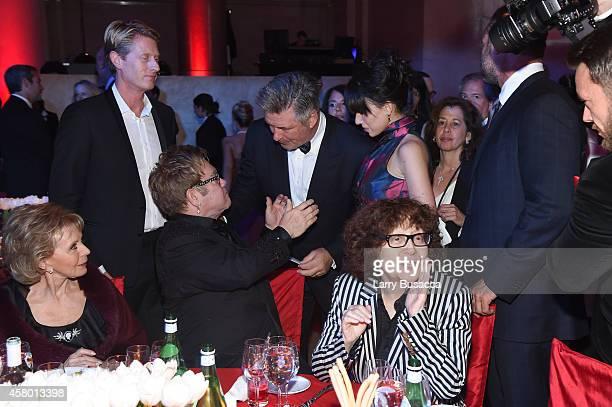 Lily Safra Elton John Alec Baldwin Hilaria Baldwin and Sandra Brant attend the Elton John AIDS Foundation's 13th Annual An Enduring Vision Benefit at...