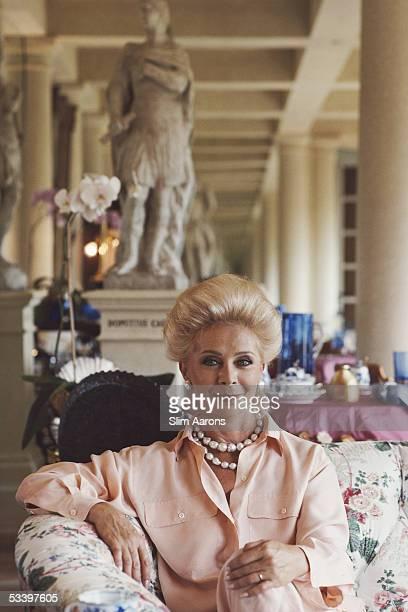 Lily Safra wife of Lebanese born banker Edmond Safra at home in La Leopolda Southern France July 1991