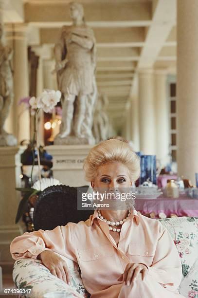 Lily Safra wife of Lebanese born banker Edmond Safra at home in La Leopolda Southern France 1991