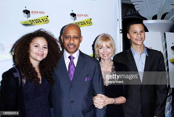 Lily SantiagoHudson Ruben SantiagoHudson Jeannie Brittan and Trey SantiagoHudson attend the after party for the Stick Fly Broadway opening night at...