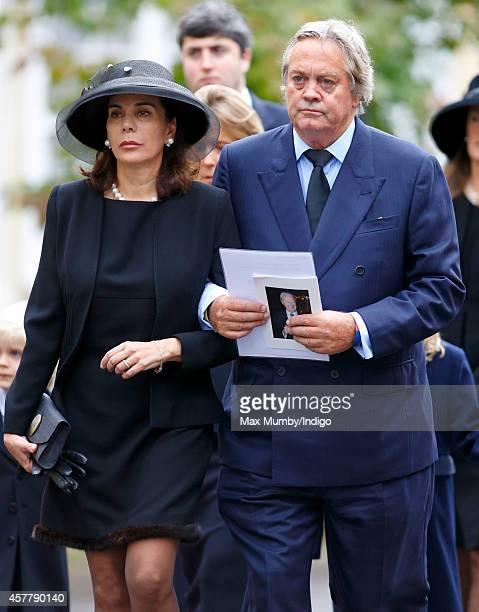 Lily SpencerChurchill Dowager Duchess of Marlborough and Jamie Blandford 12th Duke of Marlborough attend the funeral of John SpencerChurchill 11th...