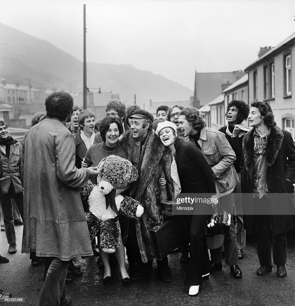 "The cast of ""Hair"" led by Victor Spinetti took a coach ride from London to Wales to meet up with Victor's mum, Mrs. : News Photo"