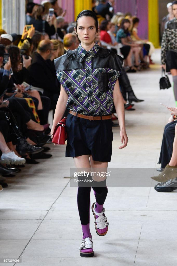 Lily Stewart walks the runway during the Miu Miu Paris show as part of the Paris Fashion Week Womenswear Spring/Summer 2018 on October 3, 2017 in Paris, France.