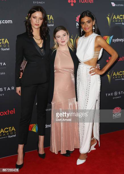 Lily Sullivan Ruby Rees and Madeleine Madden pose during the 7th AACTA Awards at The Star on December 6 2017 in Sydney Australia
