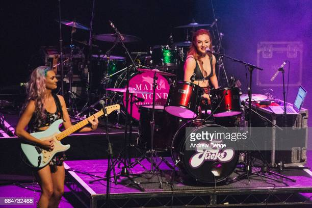 Lily Tello and Harley Rae of The Flicks perform at the Barbican York on March 26 2017 in York England