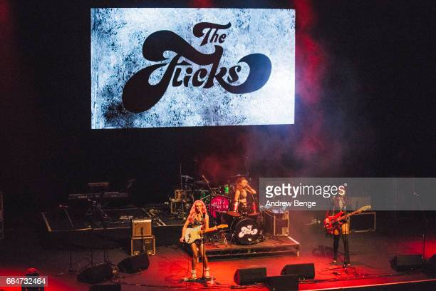 Lily Tello Harley Rae and Alice Androsch of The Flicks perform at the Barbican York on March 26 2017 in York England