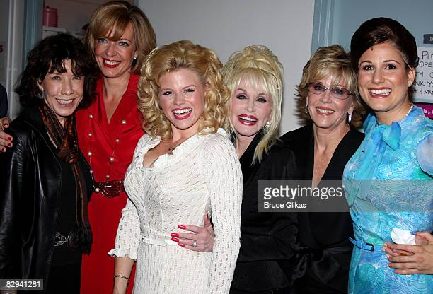 Lily Tomlin Allison Janney Megan Hilty Dolly Parton Jane Fonda and Stephanie J Block pose backstage at The Opening Night of Dolly Parton's 9 to 5 at...