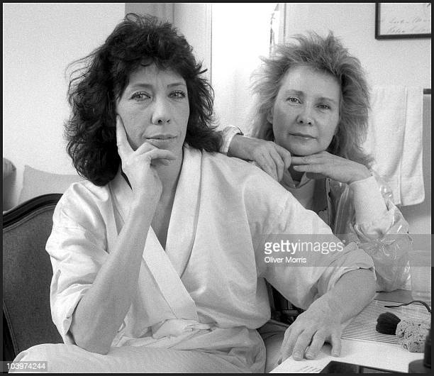 Lily Tomlin an American actress writer comedian and Jane Wagner American director and writer pose in their dressing room at the Plymouth Theater New...