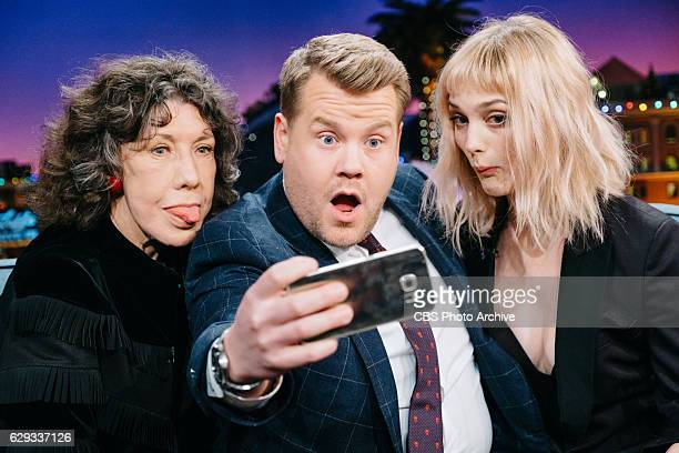 Lily Tomlin and Alison Sudol chat with James Corden during 'The Late Late Show with James Corden' Wednesday December 7 2016 On The CBS Television...