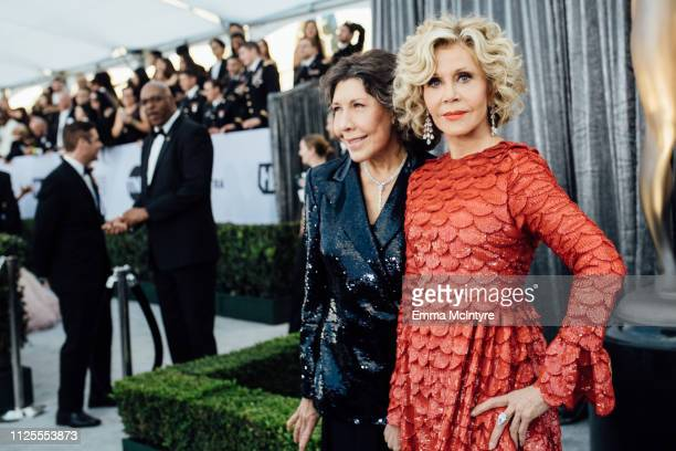 Lily Tomlin and Jane Fonda arrive at the 25th annual Screen Actors Guild Awards at The Shrine Auditorium on January 27 2019 in Los Angeles California