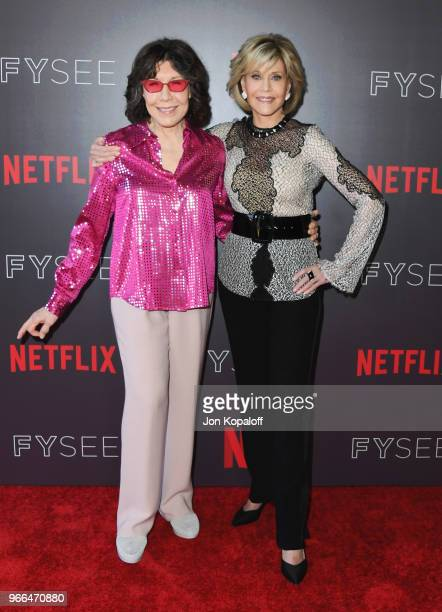 Lily Tomlin and Jane Fonda attend #NETFLIXFYSEE Event For 'Grace And Frankie' at Netflix FYSEE At Raleigh Studios on June 2 2018 in Los Angeles...