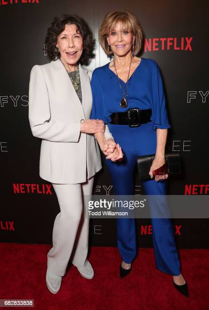 Lily Tomlin and Jane Fonda attend Netflix's Grace And Frankie FYC Special Screening Event at Netflix FYSee Space on May 13 2017 in Beverly Hills...