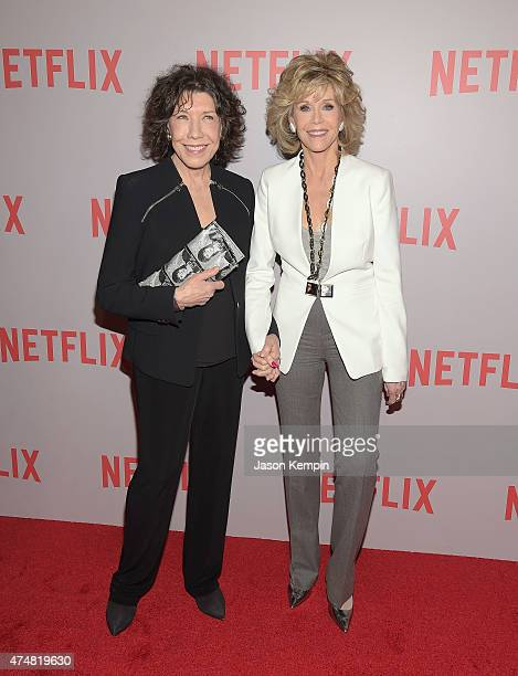 """Lily Tomlin and Jane Fonda attend Netflix's """"Grace & Frankie"""" Q&A Screening Event at Pacific Design Center on May 26, 2015 in West Hollywood,..."""